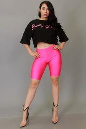 pants,biker shorts,nylon shorts,women shiny shorts,knee length shorts