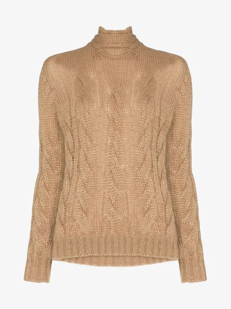 Prada Back tie cable knit mohair jumper in brown