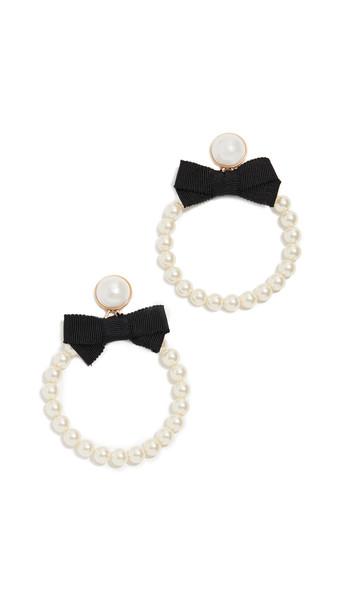 For Love & Lemons Bowtie Imitation Pearl Hoop Earrings in black