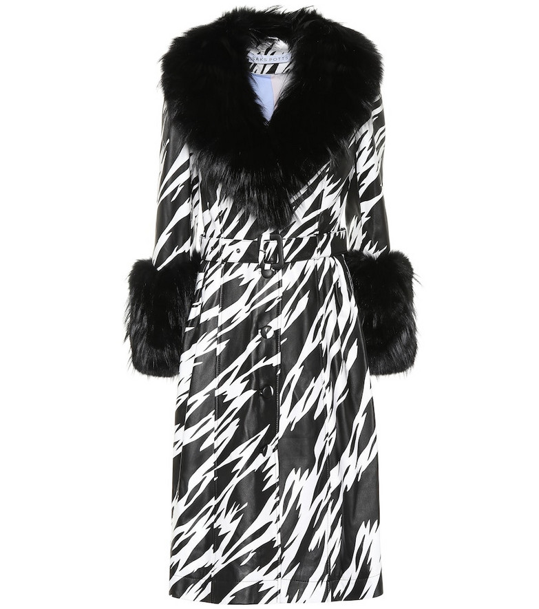 Saks Potts Foxy fur-trimmed leather coat in black