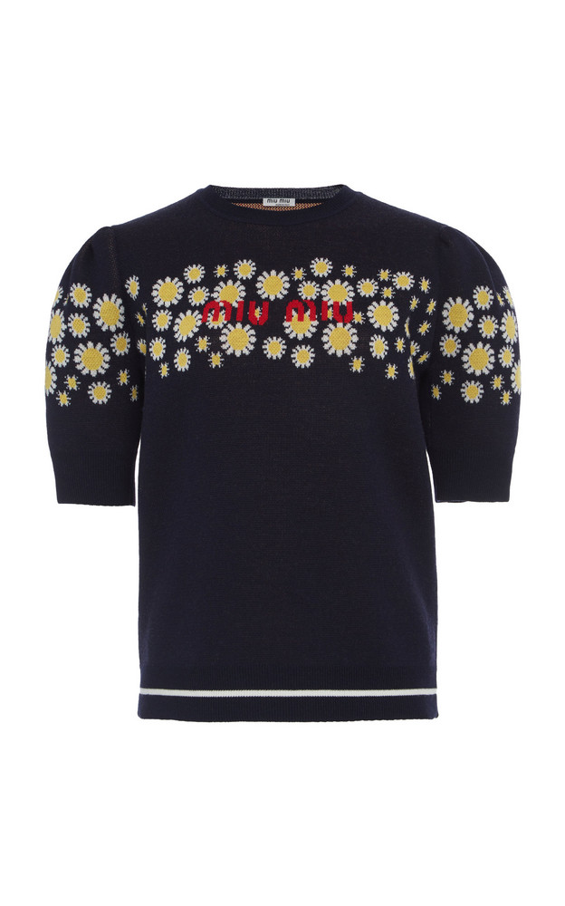 Miu Miu Embroidered Logo Pullover Size: 36 in navy