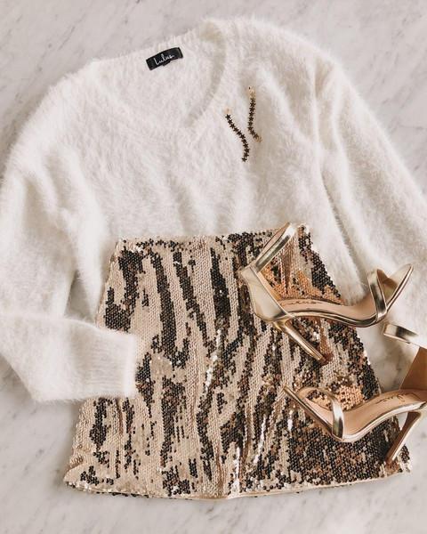 sweater jewels skirt