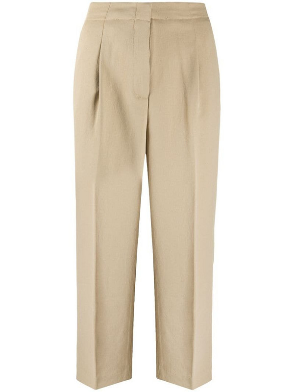 Michael Michael Kors cropped box pleat trousers in neutrals