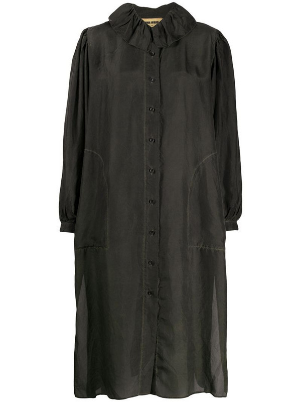 Uma Wang gathered collar shirt dress in black
