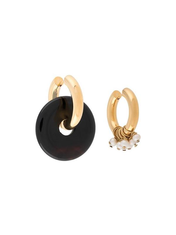 Timeless Pearly asymmetric hoop earrings in gold