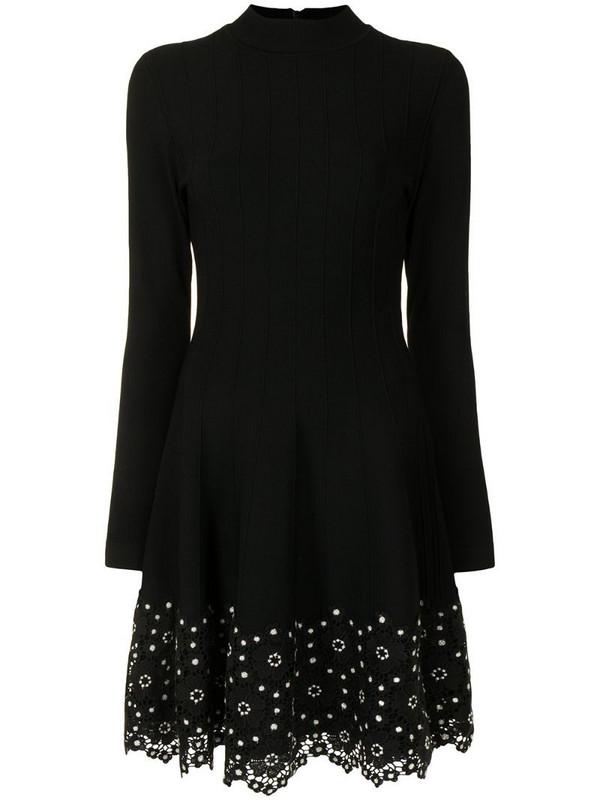 Lela Rose floral lace-trim dress in black