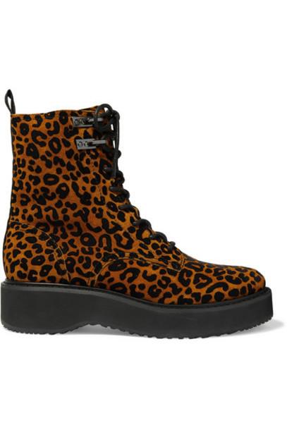 Diane von Furstenberg - In Charge Leopard-print Suede Ankle Boots - Leopard print