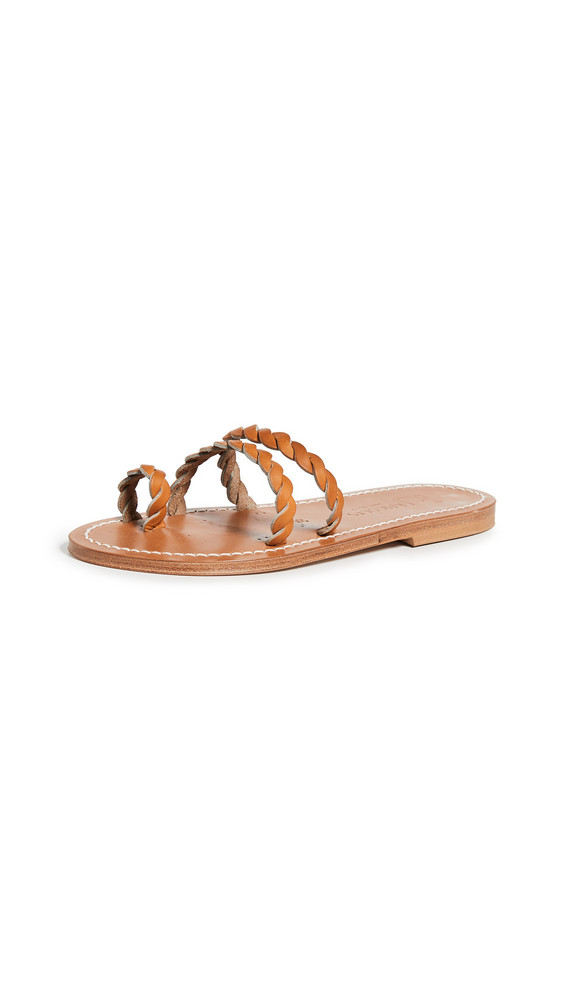 K. Jacques Thais Braided Toe Ring Slides in natural