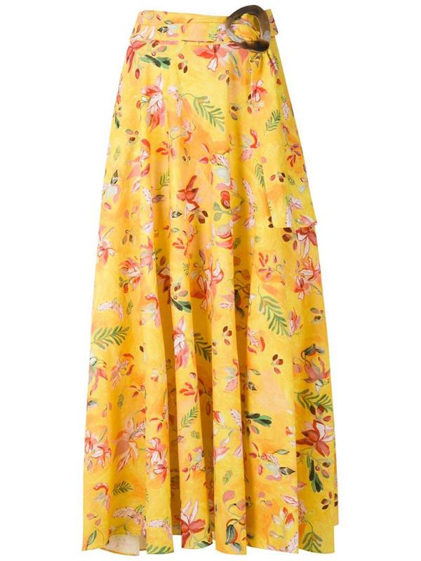 Isolda Dora linen printed skirt in yellow
