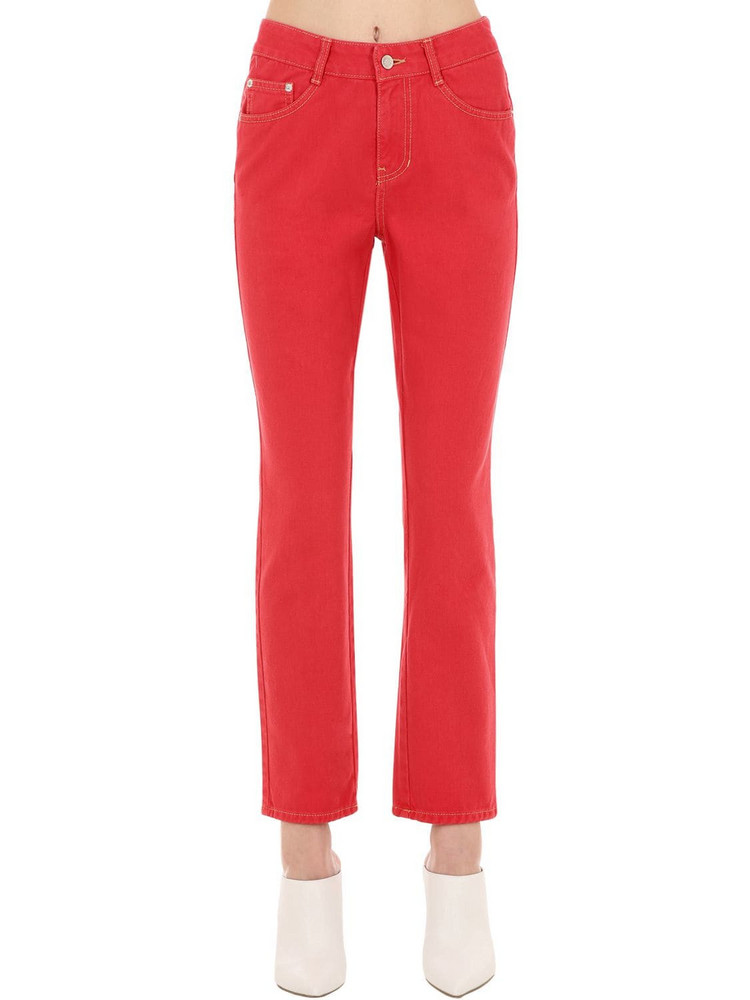 SJYP Mid Rise Straight Leg Cotton Denim Jeans in red