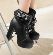 shoes,gothic lolita,goth,black,boots,ankle boots,silver