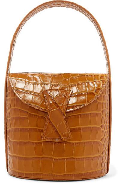 BY FAR - Nick Croc-effect Leather Shoulder Bag - Tan