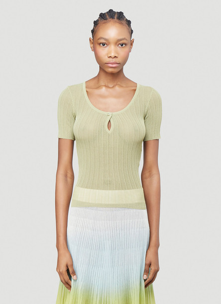 Jacquemus La Maille Loiza Knitted Top in Green size FR - 34