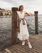dress,white dress,midi dress,lace dress,sneakers,plaid blazer,bag