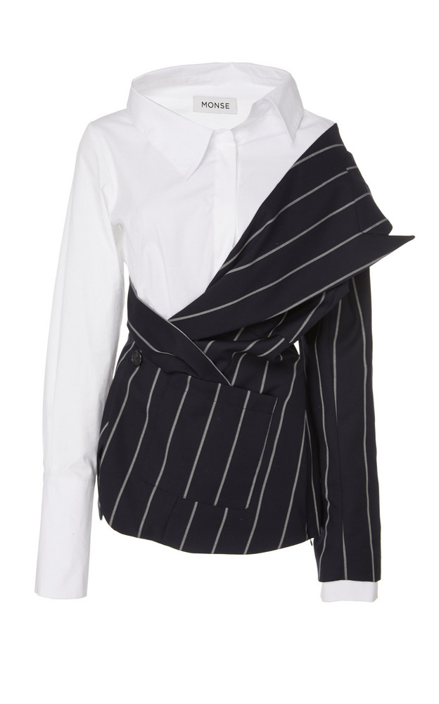 MONSE Pinstriped Wool And Stretch-Cotton Top Size: 0 in navy