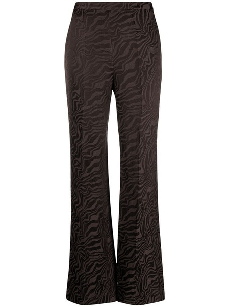 Sandro Paris abstract-print flare trousers in brown
