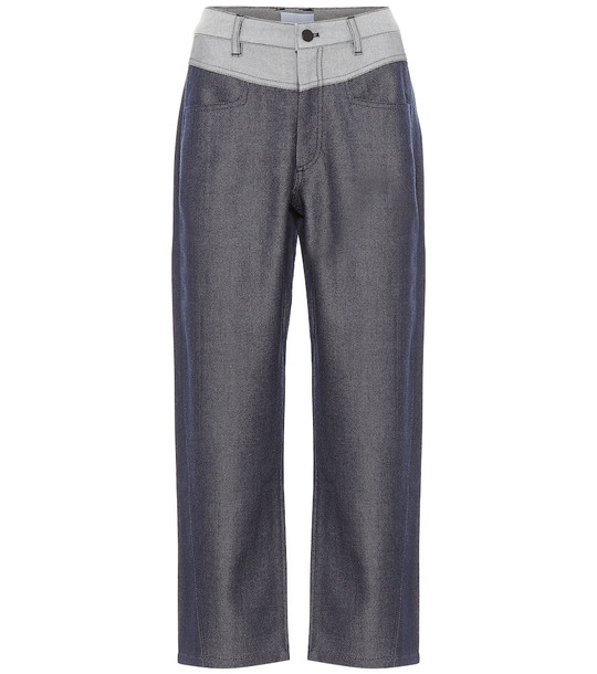 COLOVOS Mid-rise straight wool-blend pants in blue