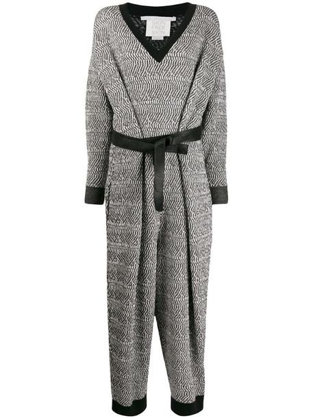 Stella McCartney patterned-knit belted jumpsuit in black