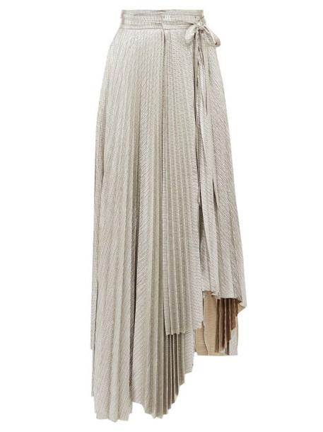 A.w.a.k.e. Mode - Oyster Doric Knife Pleat Asymmetric Skirt - Womens - Silver