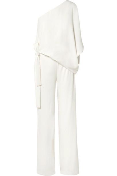Halston Heritage - One-shoulder Crepe Jumpsuit - Off-white