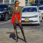 dress,mini dress,blazer dress,belt,high waisted skirt,knee high boots,sock boots,celine,tights