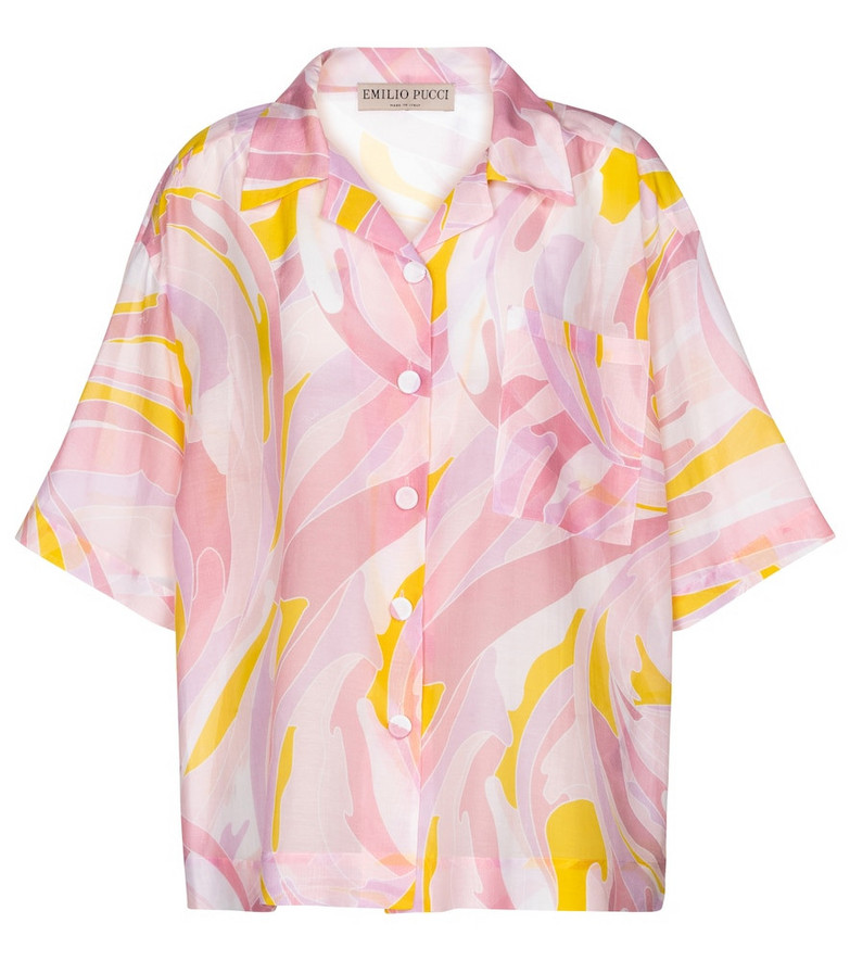 Emilio Pucci Beach Printed cotton and silk shirt in pink