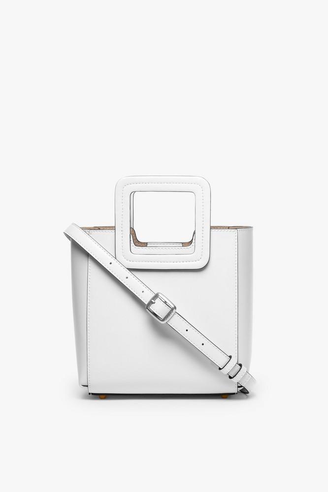 Staud MINI SHIRLEY LEATHER BAG | FRESH WHITE