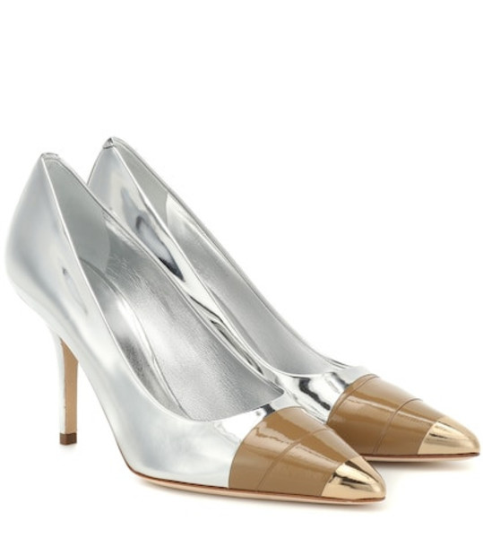 Burberry Annalise metallic leather pumps in silver