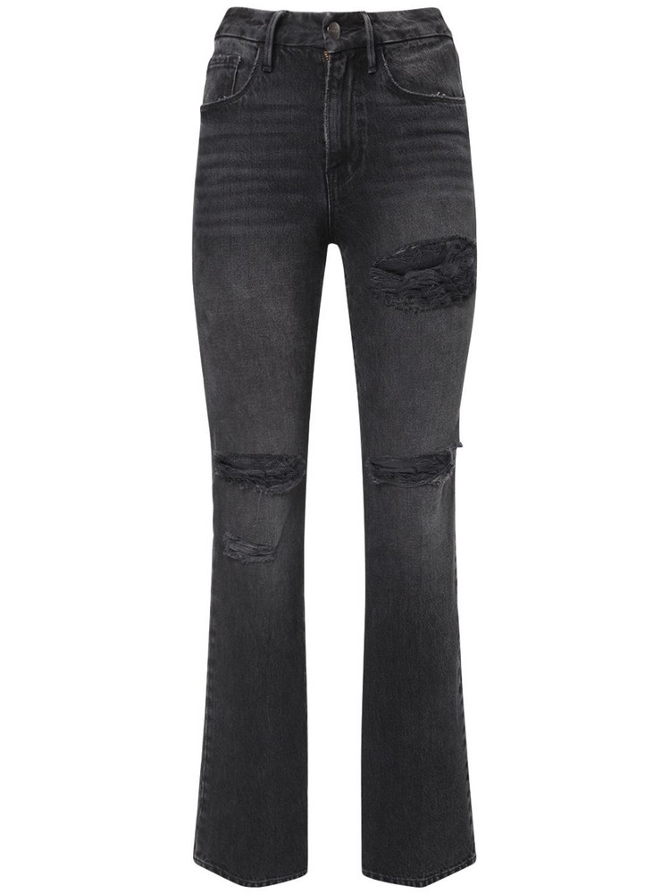 FRAME Le Mini Boot Distressed Jeans in black