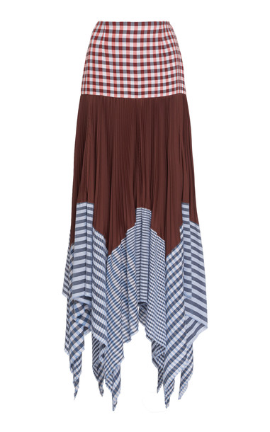 Loewe Pleated Gingham Cotton And Voile Maxi Skirt in print