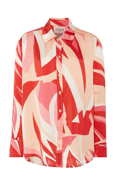 Cin Cin Printed Silk-Chiffon Shirt Size: S in pink