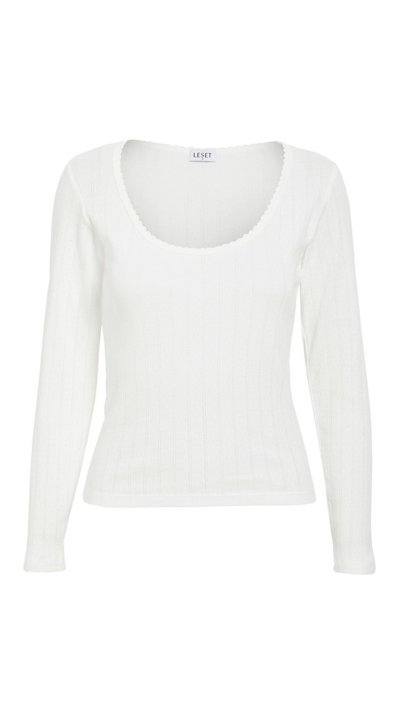 Leset Pointelle Scoop Neck Top in white
