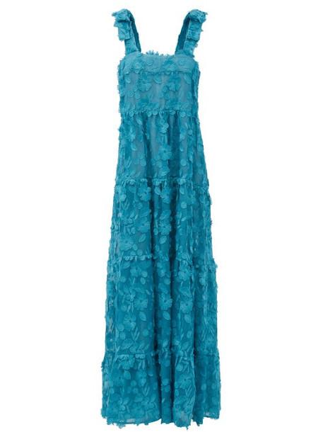 Dodo Bar Or - Lima Floral-appliqué Cotton-voile Maxi Dress - Womens - Blue