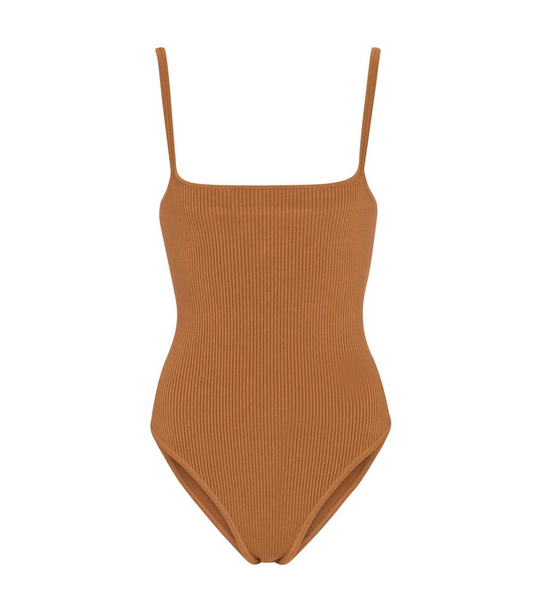 SIR Maxine ribbed-knit bodysuit in brown