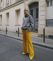 pants,yellow pants,flare pants,celine,white boots,turtleneck sweater,grey sweater,shoulder bag