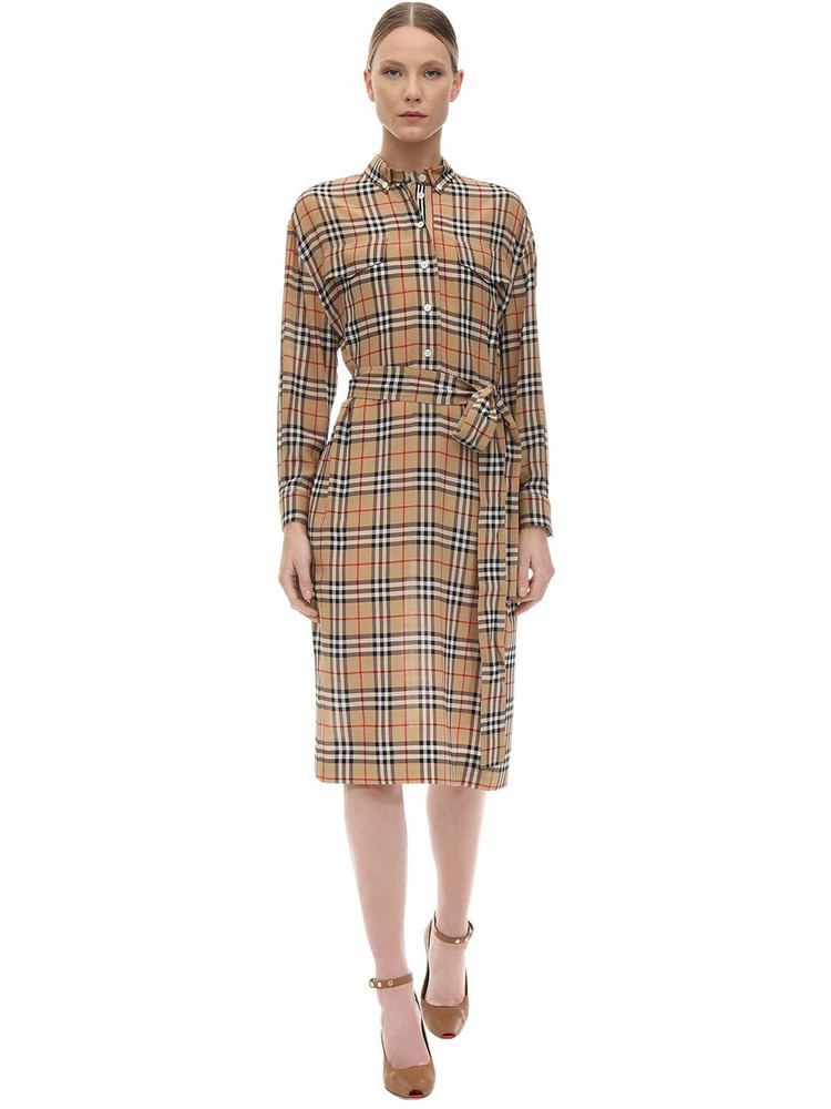BURBERRY Check Print Silk Shirt Dress in beige
