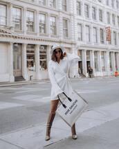 dress,wrap dress,white dress,knitted dress,long sleeve dress,knee high boots,saint laurent,white bag,hat