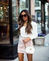 sweater,white sweater,mini skirt,high waisted skirt,suede,white bag,gucci bag