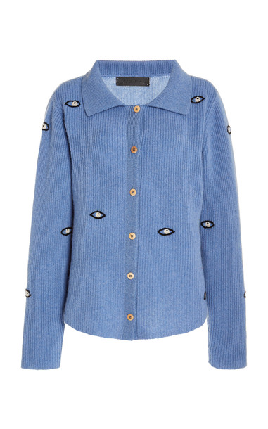 The Elder Statesman Embroidered Eyes Cropped Cashmere Cardigan in blue