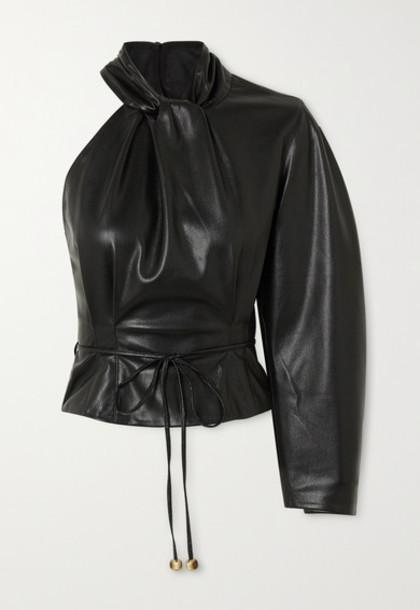Nanushka - Elodia One-sleeve Vegan Leather Top - Black