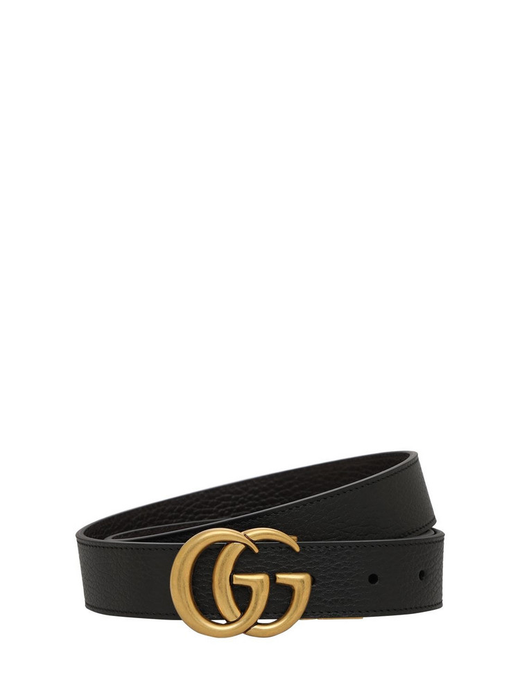 GUCCI 3cm Gg Reversible Leathers Belt in black / brown