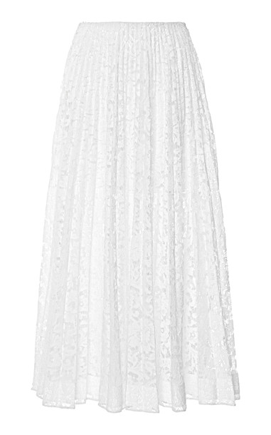 Valentino Sheer Pleated Lace Maxi Skirt Size: 36 in white
