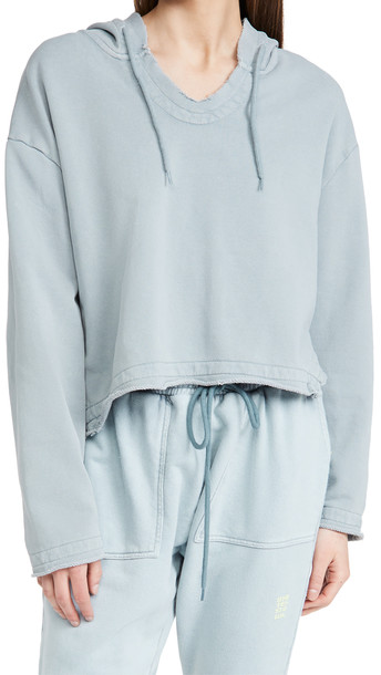 One Teaspoon Ash Blue Cropped Hoodie
