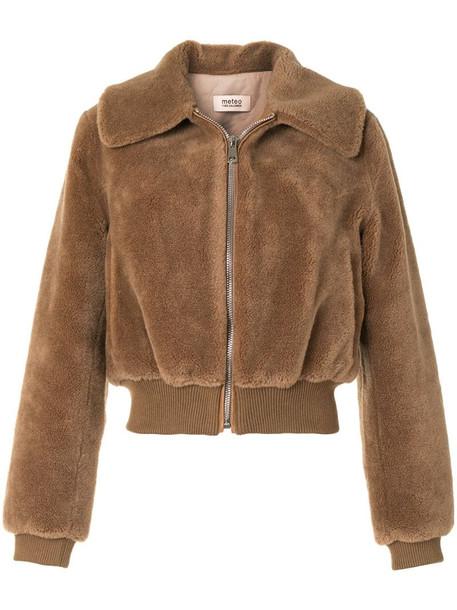Yves Salomon Meteo textured wool coat in brown