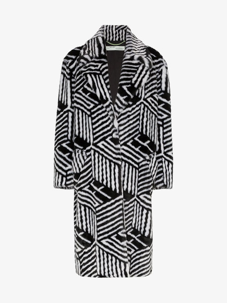 Off-White Monogram patterned faux fur coat in black