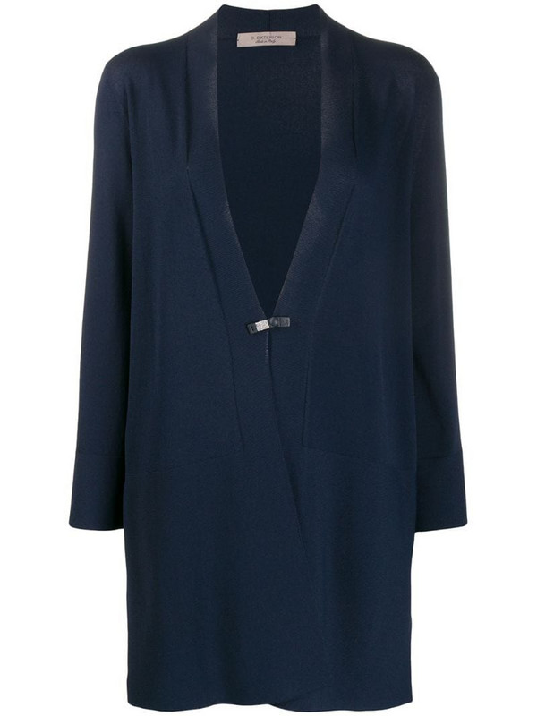 D.Exterior panelled loose-fit cardi-coat in blue