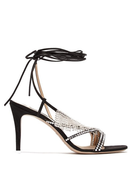 The Attico - Baby Crystal Embellished Moiré Stiletto Sandals - Womens - Black