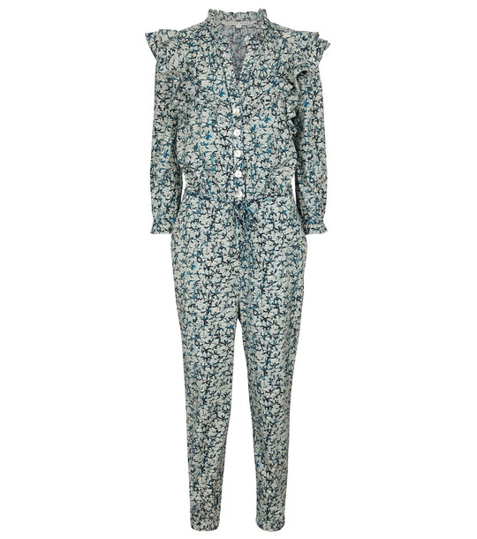 Veronica Beard Tanay printed cotton jumpsuit in blue