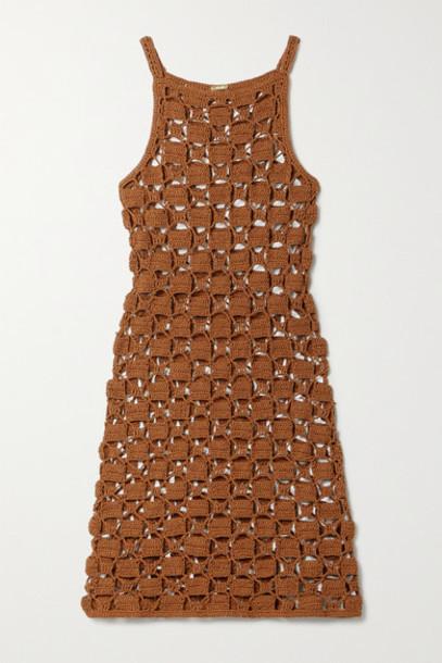 Cult Gaia - Yara Crocheted Cotton-blend Mini Dress - Light brown