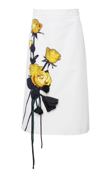 Prada Appliquéd Floral-Print Cotton-Crepe Midi Skirt in white